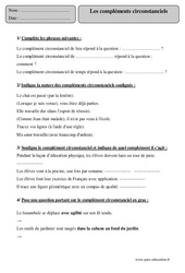 Compléments circonstanciels - Cm2 – Exercices corrigés - Grammaire