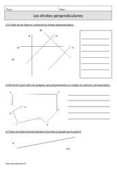 Droites perpendiculaires – Cm1 – Exercices corrigés – Géométrie – Mathématiques – Cycle 3