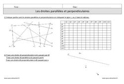 Droites perpendiculaires – Droites parallèles – Cm1 – Exercices corrigés