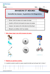 Masses: gramme et kilogramme - Ce1 - Evaluation - Bilan