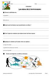 Enjeux liés à l'environnement – 6ème – Evaluation – Bilan