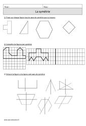 Symétrie – Cm1 – Exercices corrigés – Géométrie – Mathématiques – Cycle 3