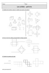 Solides – Patrons – Cm1 – Exercices corrigés – Géométrie – Mathématiques – Cycle 3