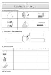 Solides: Caractéristiques – Cm1 – Exercices corrigés – Géométrie – Mathématiques – Cycle 3