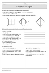 Construire une figure – Cm1 – Exercices corrigés – Géométrie – Mathématiques – Cycle 3