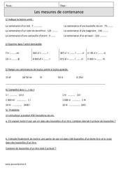 Mesures de contenance – Capacité - Cm1 – Exercices corrigés – Mesures – Mathématiques – Cycle 3