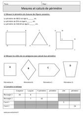 Périmètres – Mesures et calculs – Cm1 – Exercices – Mathématiques – Cycle 3