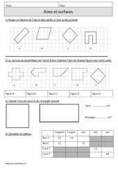 Aires – Surfaces – Mesures et calculs – Cm1 – Exercices – Mathématiques – Cycle 3