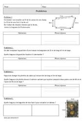 Périmètre – Problèmes mesures – Cm1 – Exercices corrigés – Mathématiques – Cycle 3