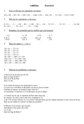 Addition – Cm1 – Exercices – Calcul – Mathématiques – Cycle 3