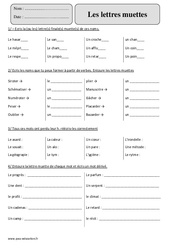 Lettres muettes – Cm2 – Exercices corrigés – Orthographe – Cycle 3