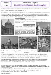 Architecture religieuse – Basiliques – Cm1 – Cm2 – Arts de l'espace – Histoire des arts – Temps modernes – Cycle 3
