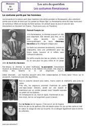 Costumes de la renaissance – Cm1 – Cm2 – Arts du quotidien – Temps modernes – Histoire des arts – Cycle 3
