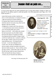 Jeanne était au pain sec … – Victor Hugo – Arts du langage – XIXe siècle –  Cm1 – Cm2 – Histoire des arts – Cycle 3