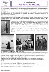 Sculpture – Arts du visuel – Cm2 – Histoire des arts – XXème siècle – Cycle 3