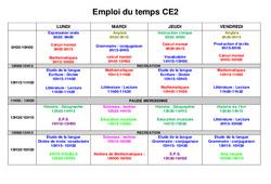 Emploi du temps CE2 - Rentrée - Outils pour la classe - Cycle 3