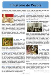 L'histoire de l'école - Ce2 - Cm1 - Cm2 - Lecture documentaire de la rentrée -  Cycle 3