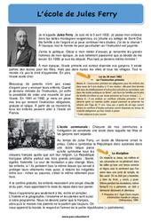 L'école de Jules Ferry - Ce2 - Cm1 - Cm2 - Lecture de la rentrée - Cycle 3