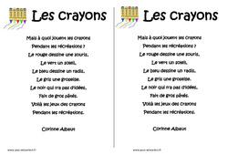 Les crayons -  Poésie sur la rentrée - Exploitation pédagogique - Cp - Ce1 - Lecture - Cycle 2
