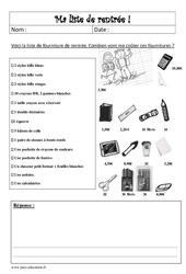 Liste de rentrée – Problème - Cm2 – Mathématiques – Cycle 3