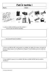 Problème de rentrée CE2 - CM1 - Mathématiques - Cycle 3
