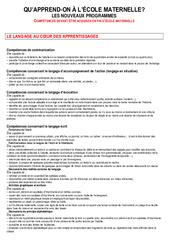 Compétences fin maternelle - Documents officiels - Maternelle - PS - MS - GS - Cycle 1