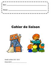 Cahier de liaison – Page de garde – Maternelle – Petite, moyenne et grande section – PS – MS – GS