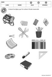 Trouver les objets de l'école – Jeux de la rentrée – Maternelle – Petite, moyenne et grande section – PS – MS – GS
