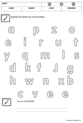 Ecrire le mot rentrée – Script – Grande section – Cycle 1