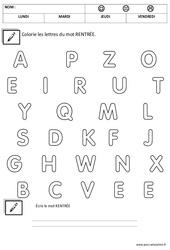 Ecrire le mot rentrée imprimerie – Moyenne section – Cycle 1