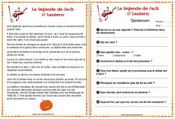La légende de Jack o lantern – Halloween – Récit – Ce2 – Cm1 – Cm2 – Cycle 3
