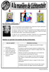 Roy Lichtenstein - Portraits – Ce1 - Ce2 – Cm1 – Cm2 – Arts visuels – Cycle 3