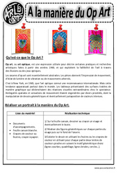 A la manière du op art – Art optique – Portraits – Ce1 – Ce2 – Cm1 – Cm2 – Arts visuels – Cycle 3