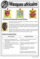 Masques africains – Ce1 - Ce2 – Cm1 – Cm2 – Arts visuels – Cycle 3