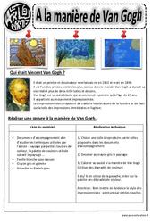 A la manière de  Van Gogh – Ce1- Ce2 – Cm1 – Cm2 – Arts visuels – Cycle 3