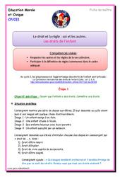 Les droits de l'enfant – Cp – Ce1 – Fiche de préparation