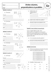 Propriétés – Droites sécantes, perpendiculaires et parallèles – 6ème – Exercices corrigés – Géométrie