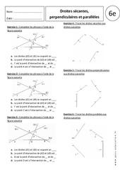 Droites sécantes, perpendiculaires et parallèles – Exercices corrigés 6ème – Géométrie