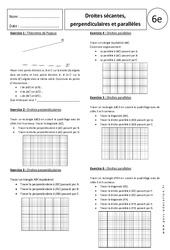 Exercices corrigés – 6ème – Droites sécantes, perpendiculaires et parallèles – Géométrie