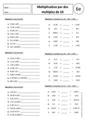 Multiplication par des multiples de 10 – 100 – 1000 – Exercices corrigés – 6ème