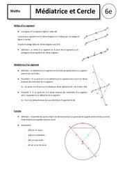 Médiatrice – Cercle – Cours – 6ème – Géométrie