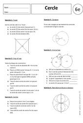 Cercle – Exercices corrigés – 6ème – Géométrie