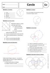 Cercle – 6ème – Exercices corrigés – Géométrie