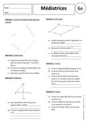 Médiatrices – Exercices corrigés – 6ème – Géométrie
