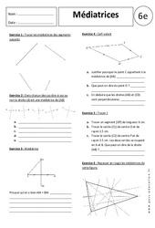 Médiatrices – 6ème – Exercices corrigés – Géométrie