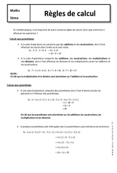 Règles de calcul – Cours – 5ème – Mathématiques