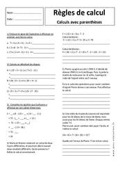 Calculs avec parenthèses – Exercices corrigés – 5ème – Règles de calcul