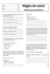 Règles de calcul  avec parenthèses –  5ème – Exercices corrigés