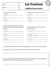 Additions – Soustractions – Fraction – 5ème – Exercices corrigés
