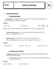 Fractions – Puissances – 3ème – Cours – Calcul numérique
